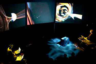 Multimedia work involving audio and visual elements